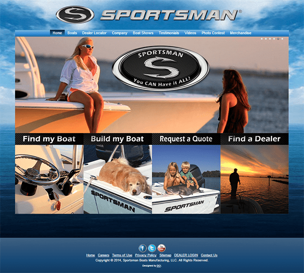 Manufacturer of Boats – Includes a custom Boat Configurator, Dealer Locator, Trade Show Calendar, Dealer and Media backend download site, and we push login credentials for dealers to order boats on their B2B orderring portal. We also added an Woo-commerce e-commerce module to sell logo merchandise. Site built on a custom developed DCI theme on WordPress' core.